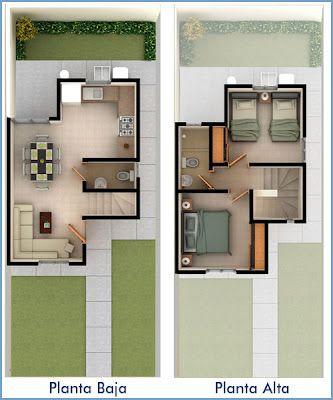Plantas de casas pequenas dois andares