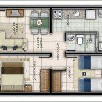 Plantas de casas pequenas sala e cozinha