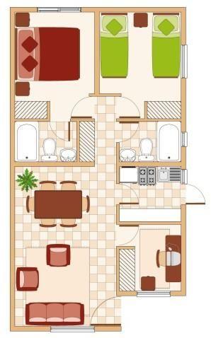 Plantas de casas simples com dois quartos