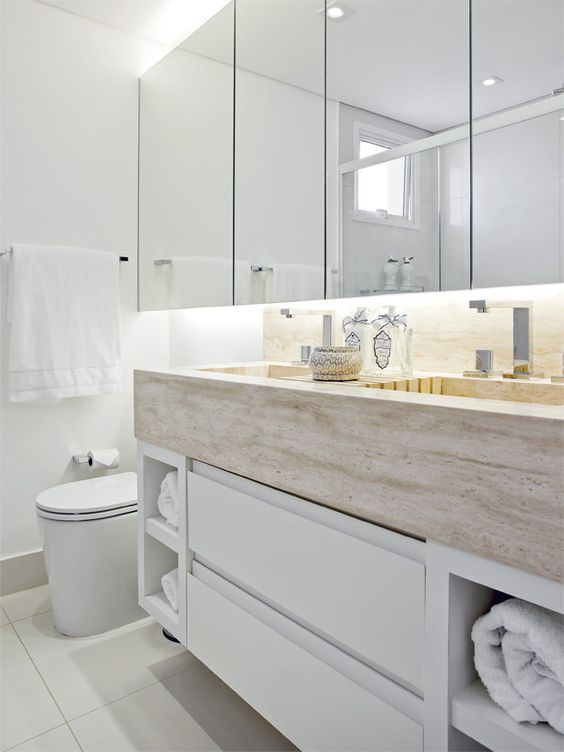 Mais de 100 Banheiros Planejados  As Melhores Dicas Para Você -> Armario De Banheiro De Sobrepor Com Espelho