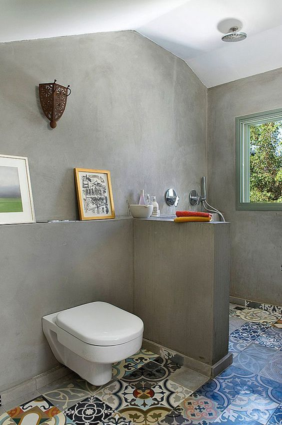 Mais de 100 Banheiros Planejados  As Melhores Dicas Para Você -> Banheiro Decorado Com Cimento Queimado