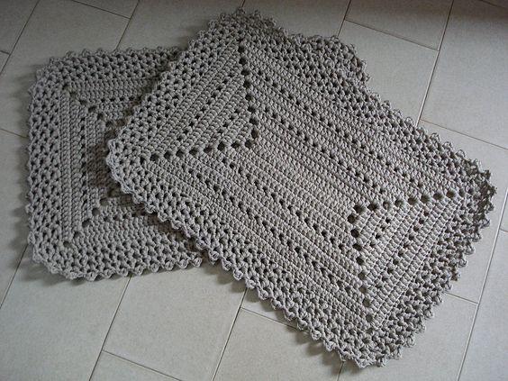 Tapete de Crochê Conjunto Simples