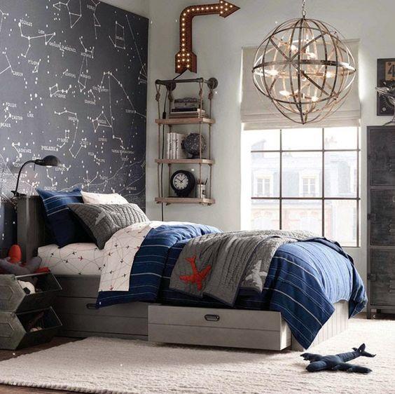 luminária moderna em quarto comestilo jovem