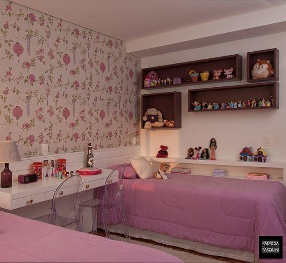 Quartos de menina veja mais de 100 fotos com dicas for Papel para paredes baratos