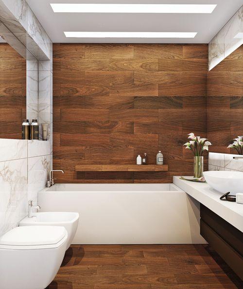 parede de madeira no banheiro