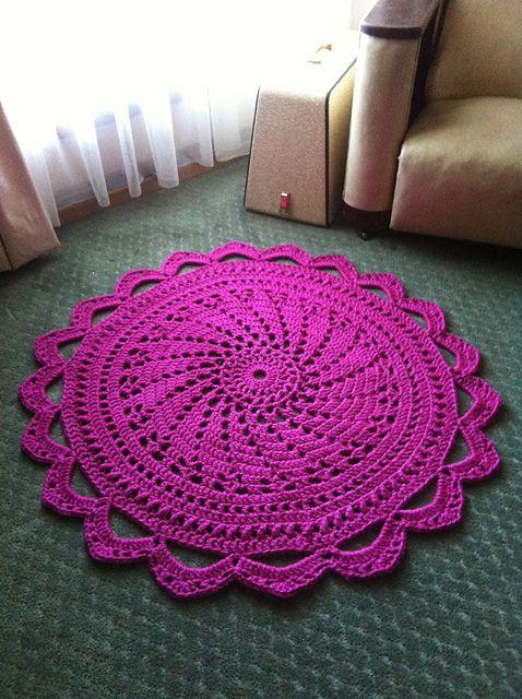 tapete rosa de croche