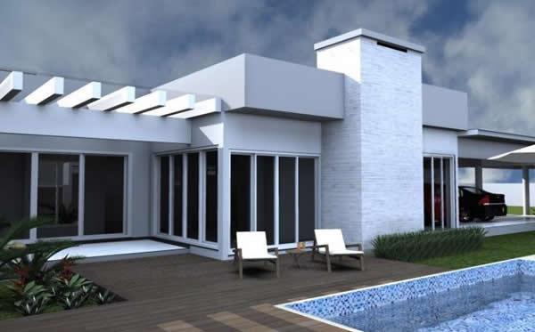 Pergolado de concreto branco