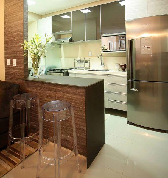 armarios com espelho na cozinha