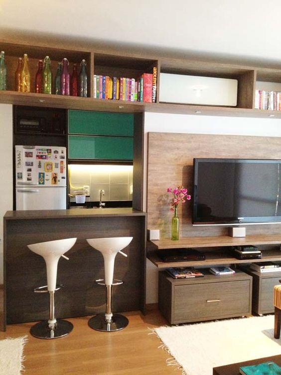 Cozinha americana veja 100 projetos modelos e dicas - Armarios para sala de estar ...