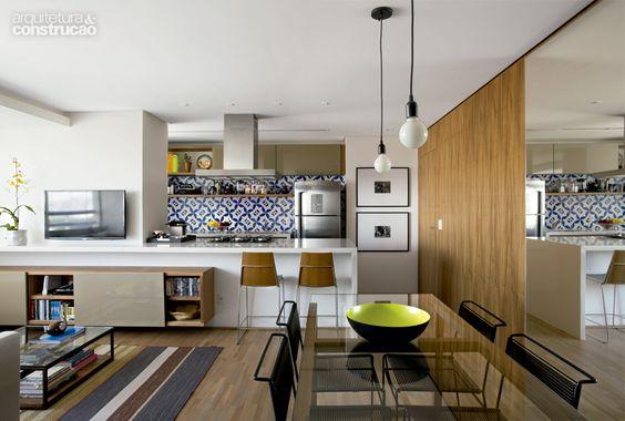 casa com cozinha e sala integrada