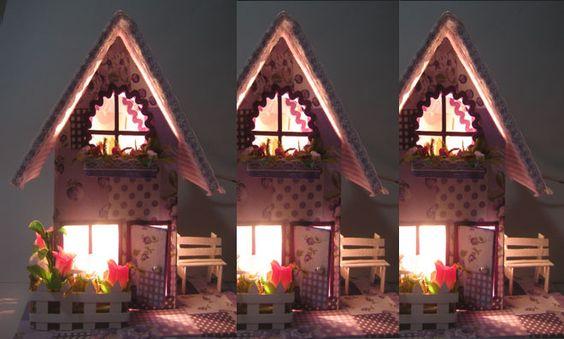 casinha de caixa de leite com luminaria