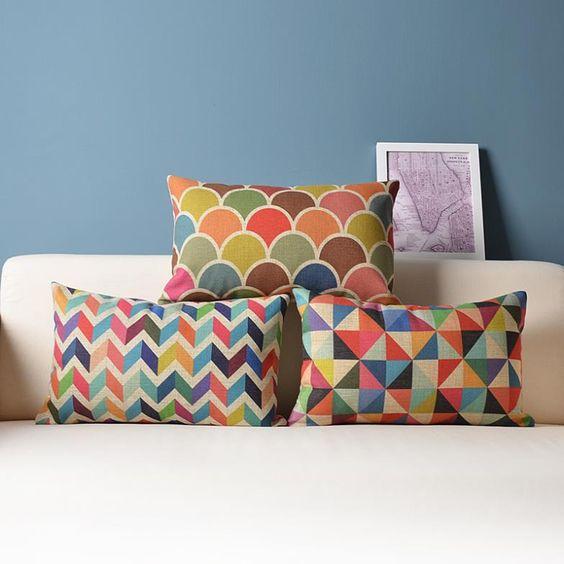 conjunto de almofadas coloridas