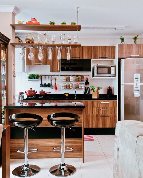 cozinha americana de madeira