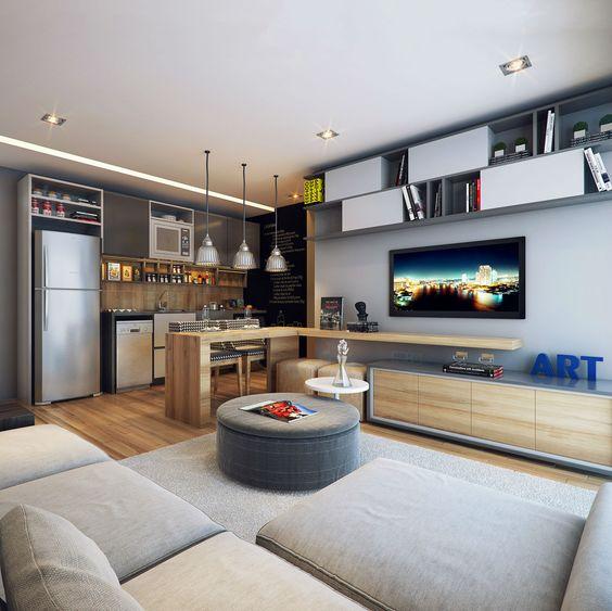 cozinha interligada na sala