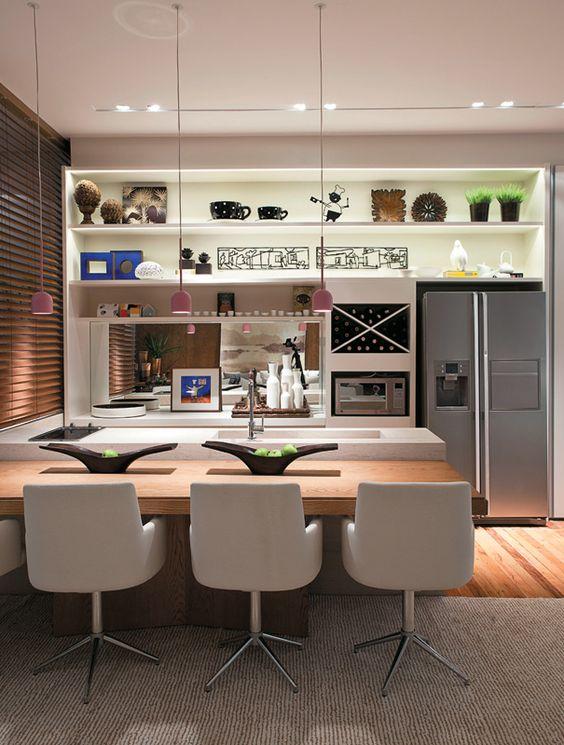 luminarias suspensas na cozinha