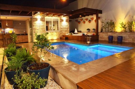 pergolado simples para piscina