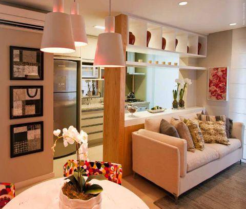 sala interligada com cozinha