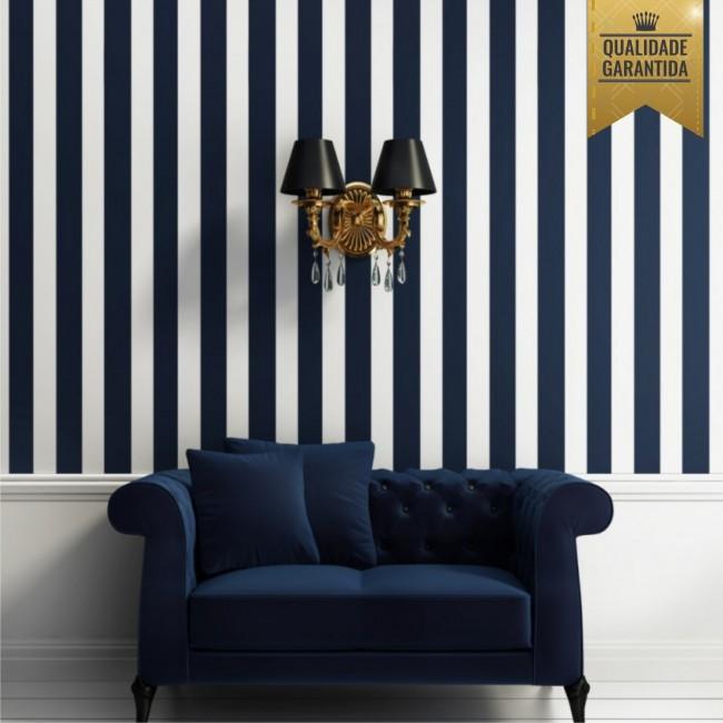 Papel de parede azul marinho com branco