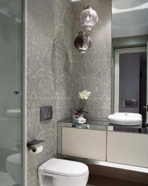 Papel de parede banheiro cinza