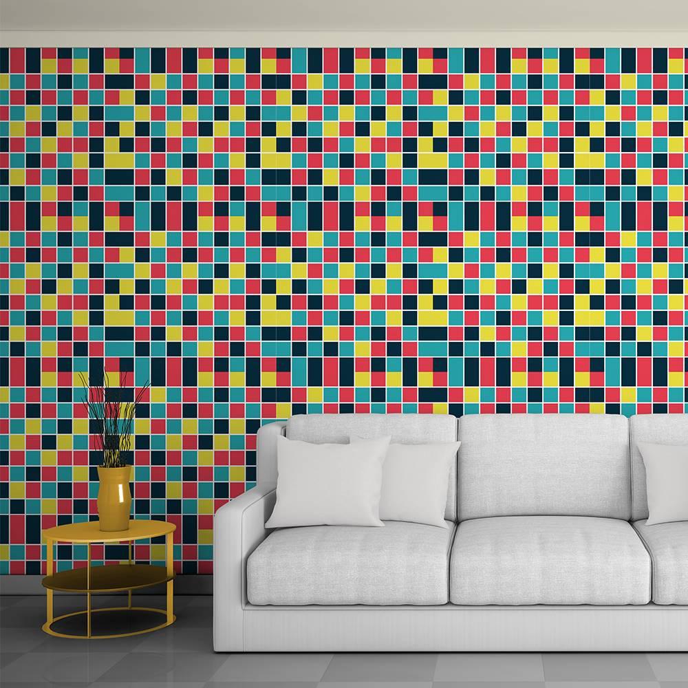Papel de parede colorido na sala