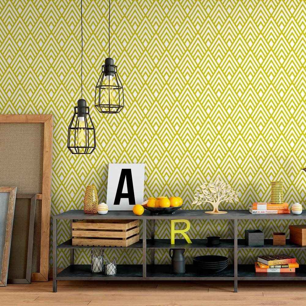 papel de parede amarelo com lstras