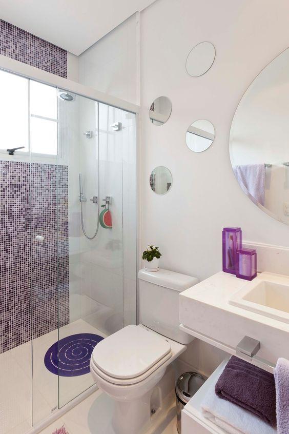 Banheiros Pequenos  100 Formas Diferentes de Decorar Lindamente! -> Banheiro Pequeno Decorado Rosa
