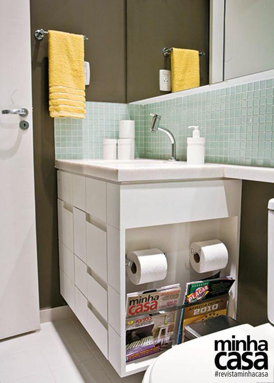 Banheiros pequenos 160 modelos e dicas para decorar for Gabinete de pared 10 ru