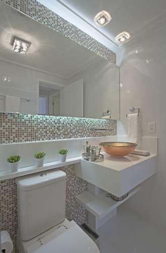 Banheiros Pequenos  100 Formas Diferentes de Decorar Lindamente! -> Decoracao De Banheiro Comprido