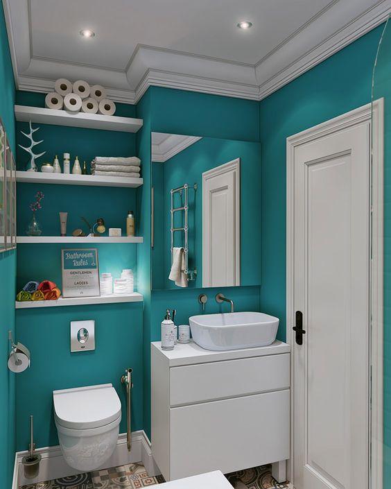 Banheiros Pequenos  100 Formas Diferentes de Decorar Lindamente! -> Banheiro Pequeno Diferente