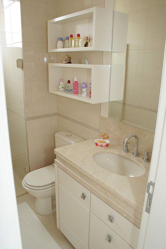 Banheiros Pequenos  100 Formas Diferentes de Decorar Lindament -> Banheiro Pequeno Marmore