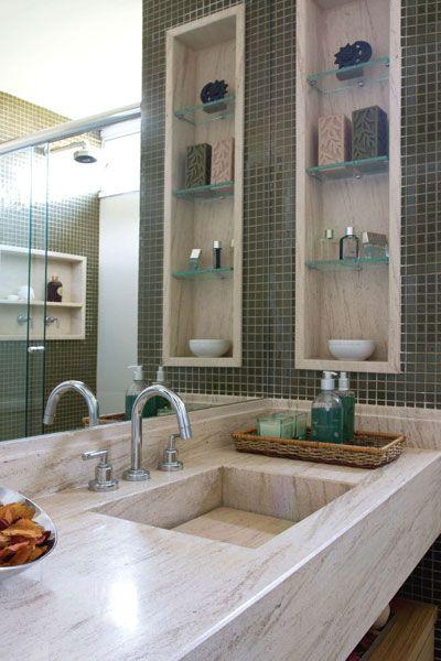 Banheiros Pequenos  100 Formas Diferentes de Decorar Lindamente! -> Nicho Na Parede Do Banheiro
