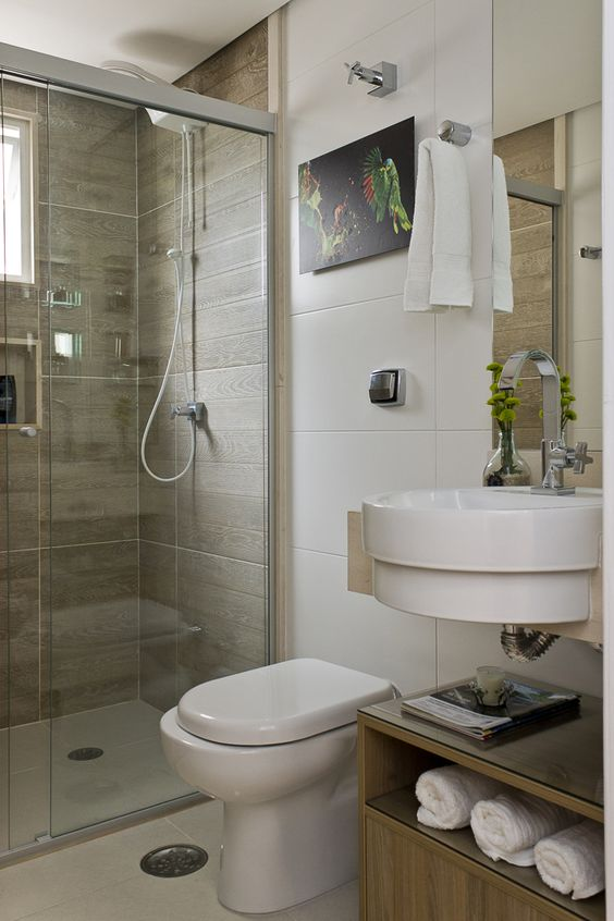Banheiros pequenos 160 modelos e dicas para decorar for Modelos de apartamentos modernos y pequenos