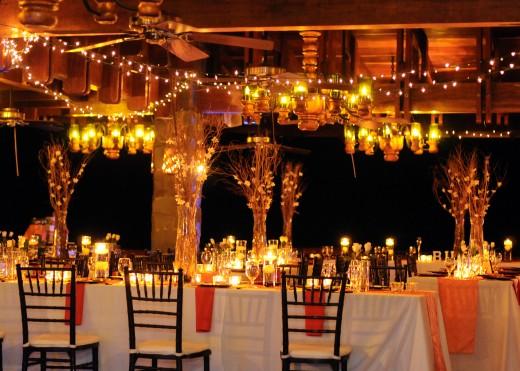 Decoração de casamento a noite