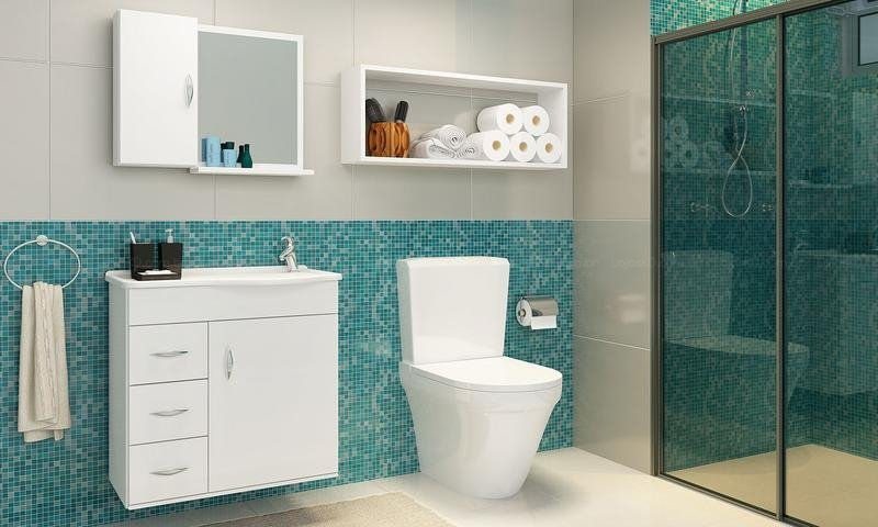 Banheiros decorados  40 modelos com fotos lindos para você! -> Armario Banheiro Verde