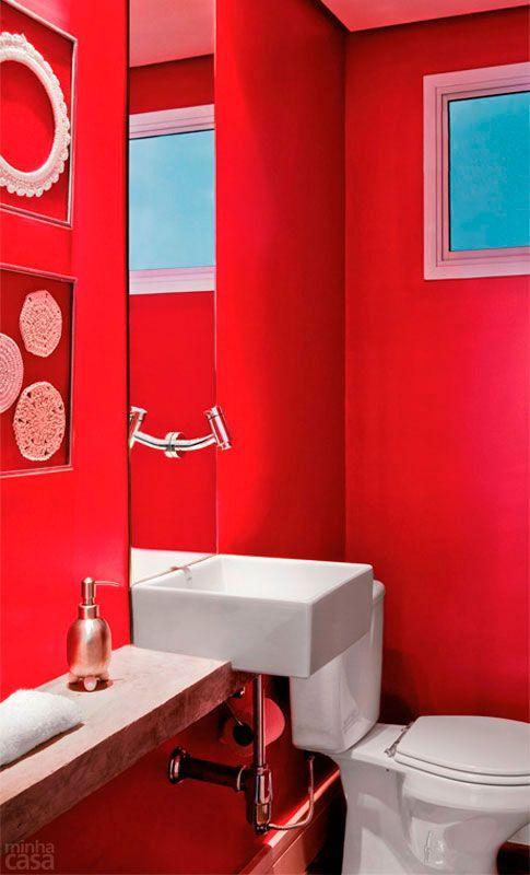 Banheiros Pequenos  100 Formas Diferentes de Decorar Lindamente! -> Banheiro Pequeno Decorado De Vermelho