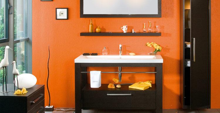 Banheiros decorados  40 modelos com fotos lindos para você! -> Decoracao Banheiro Laranja