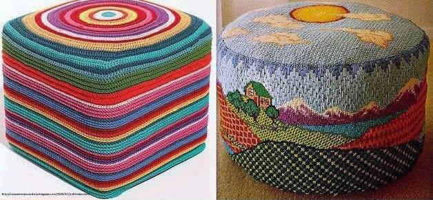 Puff artesanal feito com garrafa pet com estofamento colorido