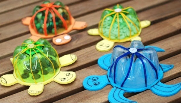 artesanato com garrafa pet animais tartaruga