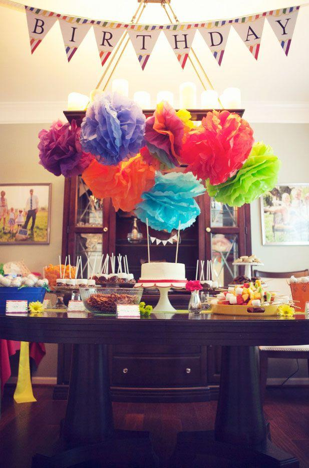 Decoração de mesa de jantar para aniversario com balões