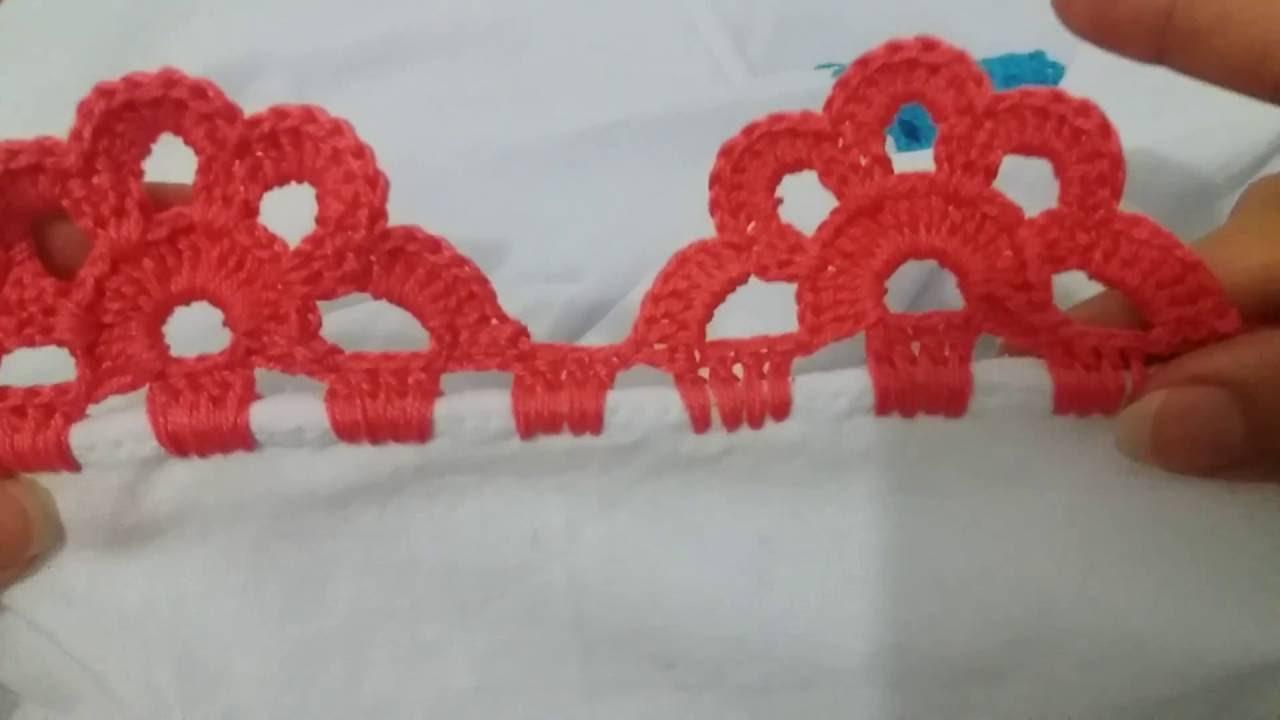 bicos de crochê carreira única vermelho