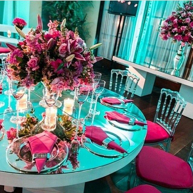 decoração de festa de casamento azul