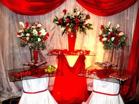 decoração de festa de casamento vermelho e branco