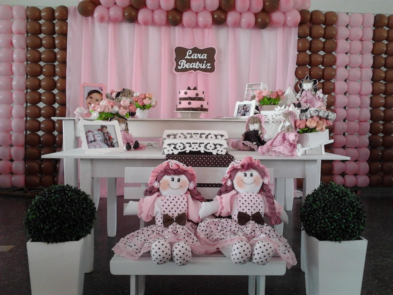 decoração de festa infantil bailarina marrom e rosaa