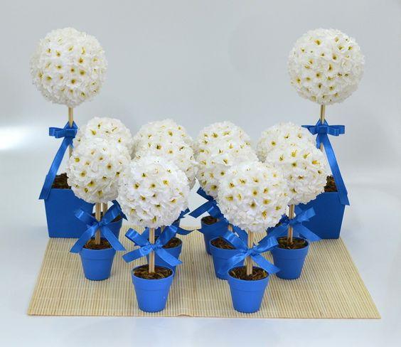 decoração de festa simples azul