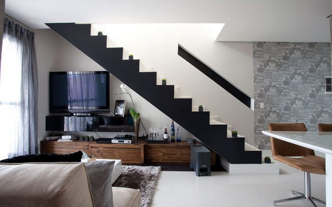 Sala Pequena Com Escada Decoracao ~ decoração de sala pequena com escada preta