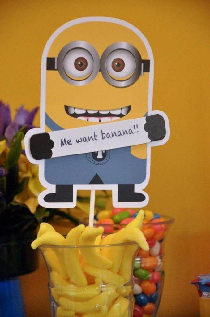 minion na decoração simples de festa infanto