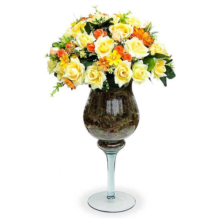 Arranjos de flores artificiais coloridas para mesa de jantar