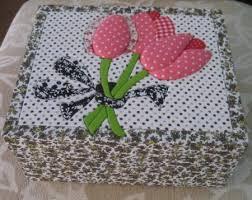 Artesanato em mdf com tecido com floress