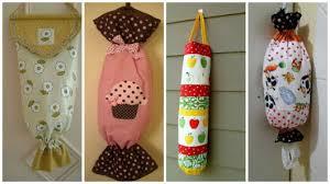 Artesanato em tecido para cozinha porta sacolas