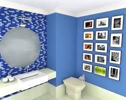 Cerâmica para banheiro azul com espelho